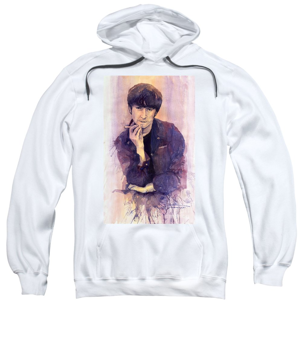 Watercolour Sweatshirt featuring the painting The Beatles John Lennon by Yuriy Shevchuk