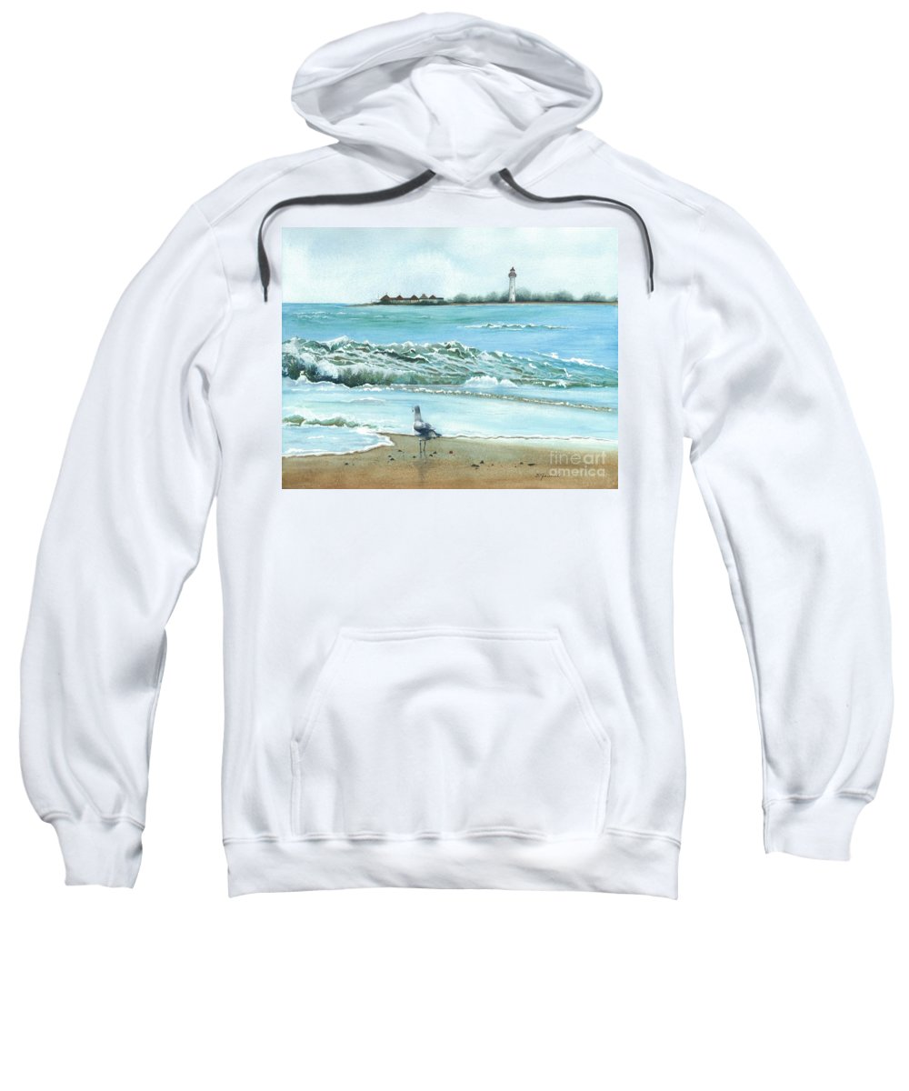 The Big Wave Sweatshirt featuring the painting The Big Wave by Barbara Jewell