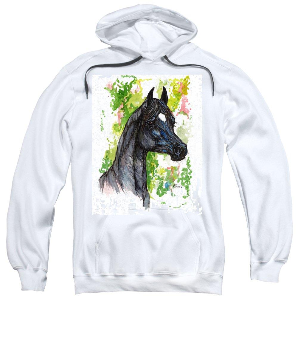 Psychodelic Sweatshirt featuring the painting The Black Horse 1 by Angel Ciesniarska