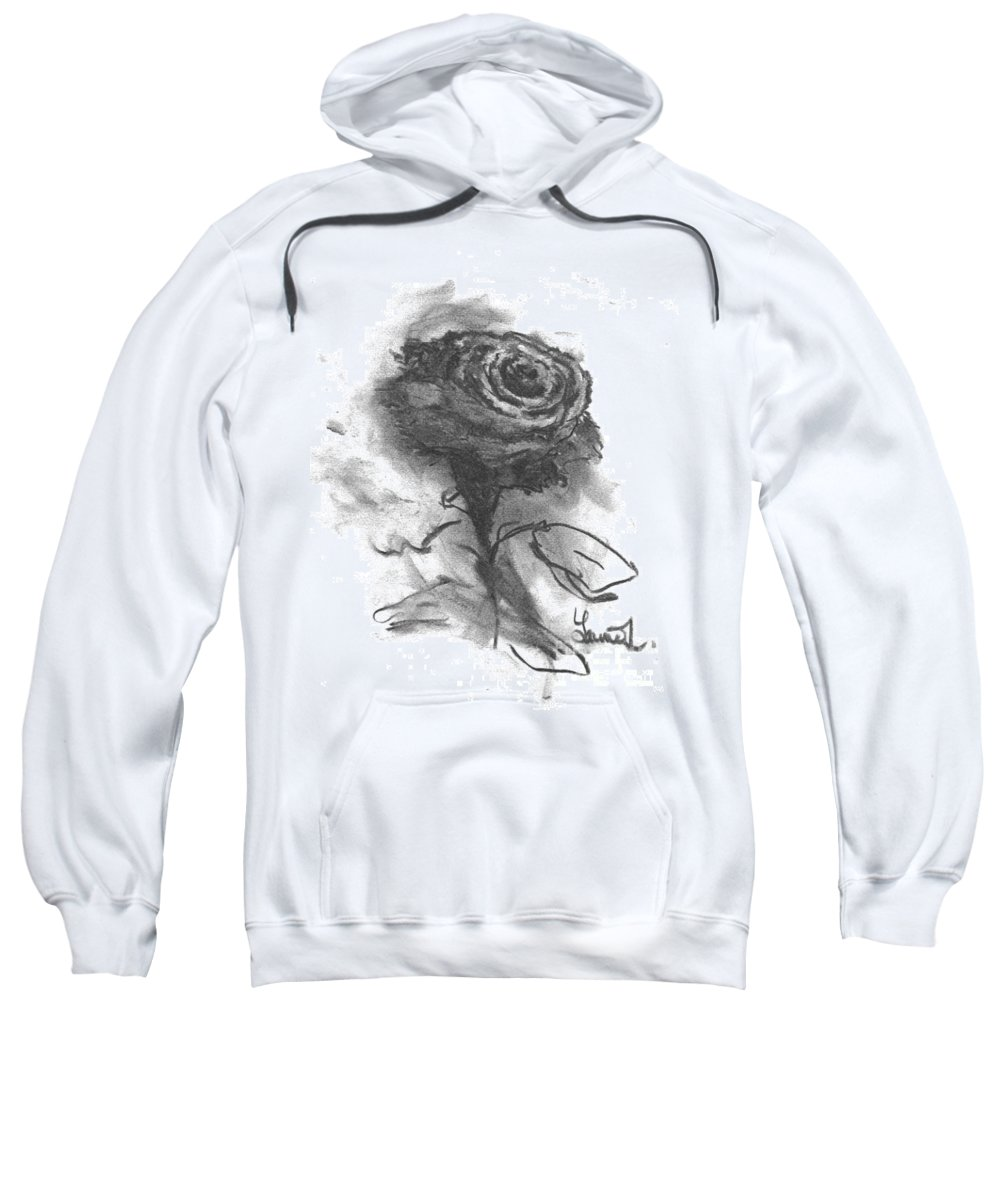 Rose Sweatshirt featuring the drawing The Black Rose by Laurie Lundquist