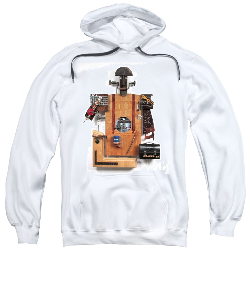 Czappa Sweatshirt featuring the sculpture The Carpenter  #16 by Bill Czappa