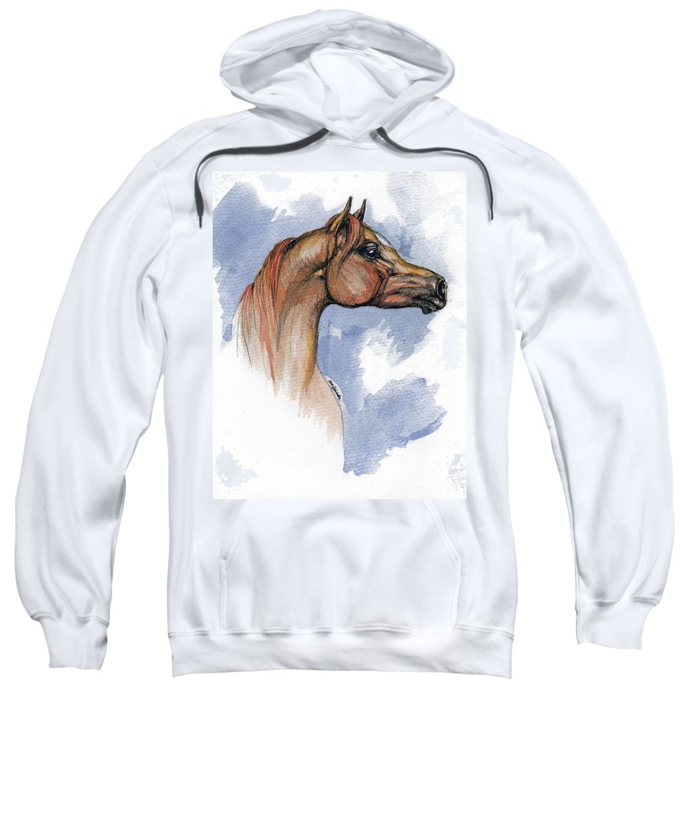 Arabian Sweatshirt featuring the painting The Chestnut Arabian Horse 4 by Angel Tarantella