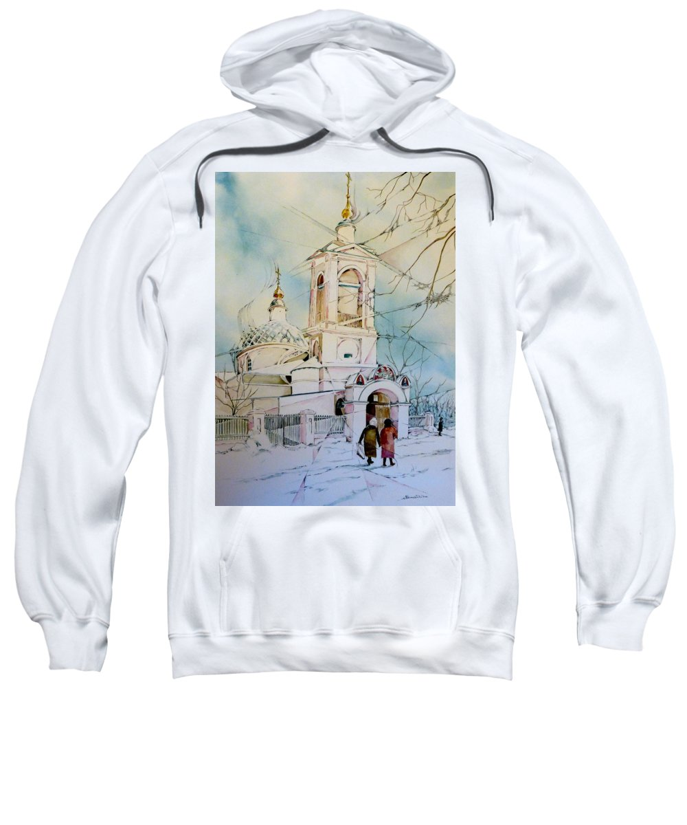 Religion Sweatshirt featuring the painting The Church On Sparrow Hill by Elaine Wilson