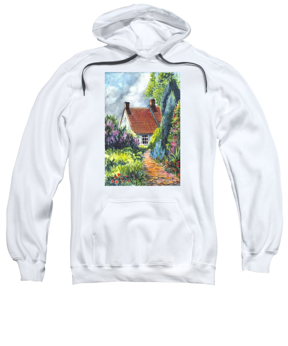 Watercolor Sweatshirt featuring the painting The Cottage Garden Path by Carol Wisniewski