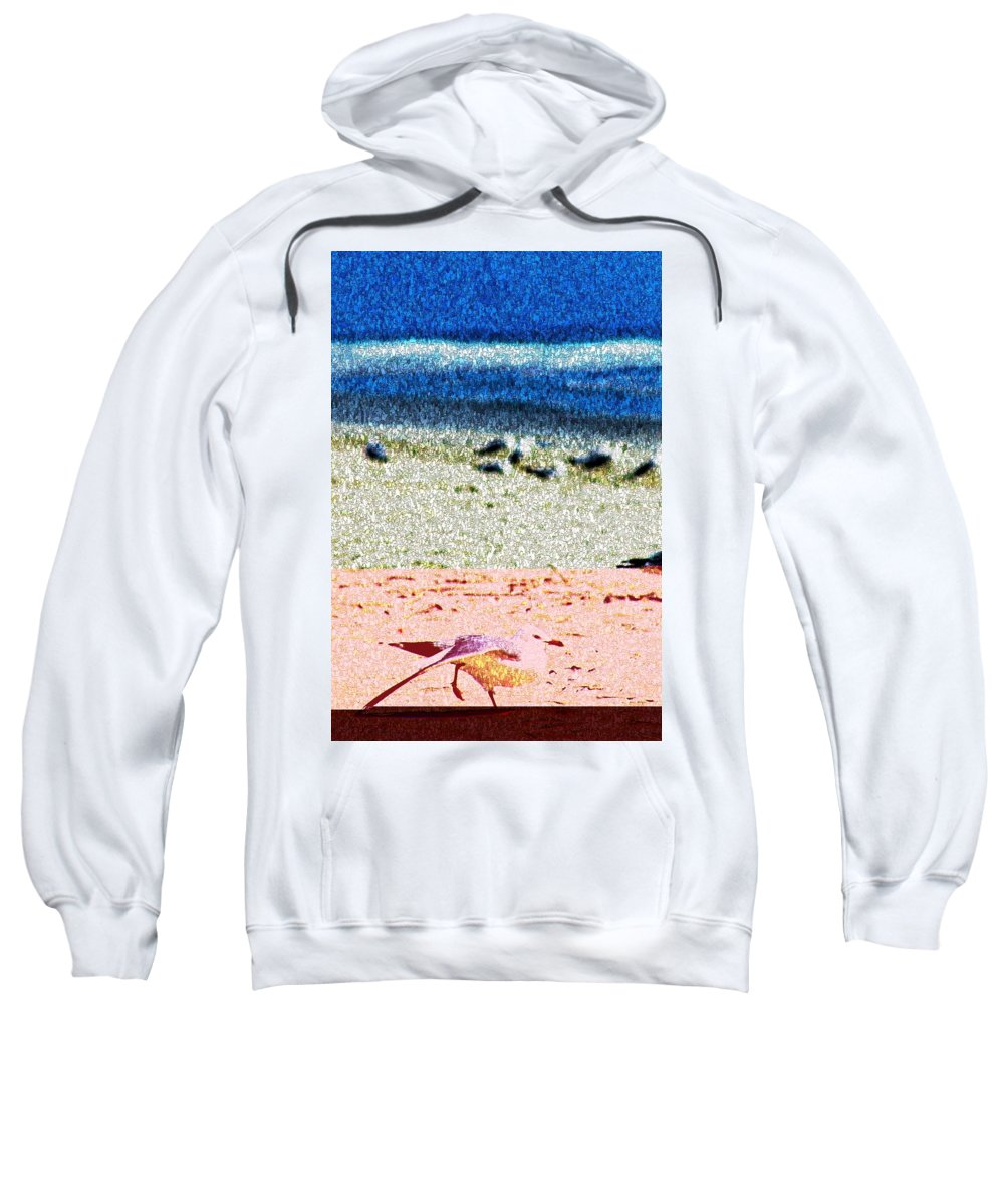 Seagull Sweatshirt featuring the digital art The Dancing Seagull by Bob Pardue
