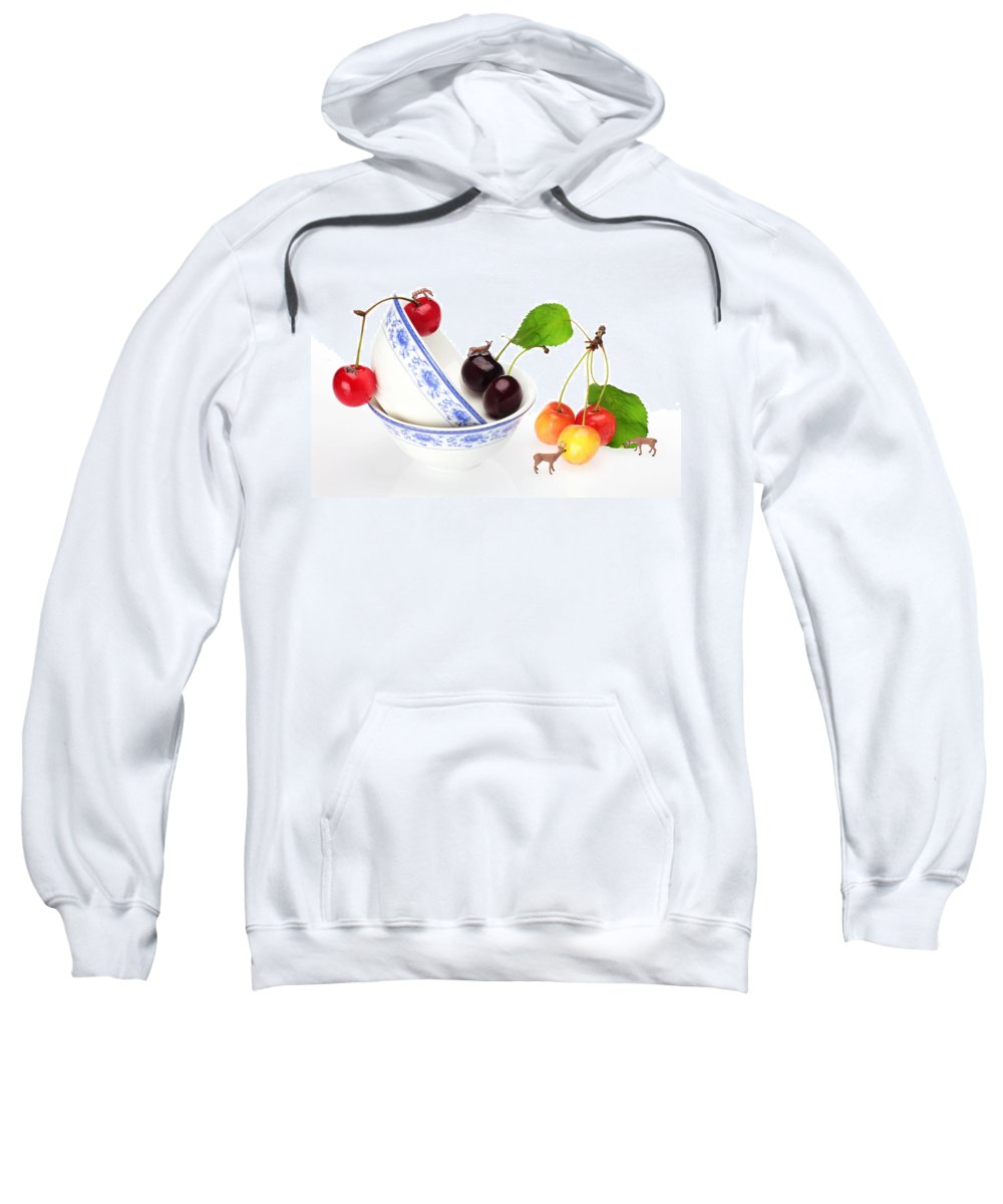 Deer Sweatshirt featuring the painting The Deers Among Cherries And Blue-and-white China Miniature Art by Paul Ge