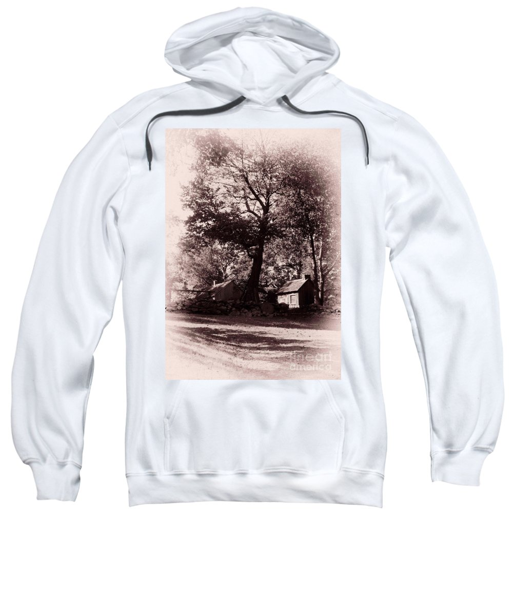 Black And White Sweatshirt featuring the photograph The Farm Bristol Rhode Island by Tom Prendergast