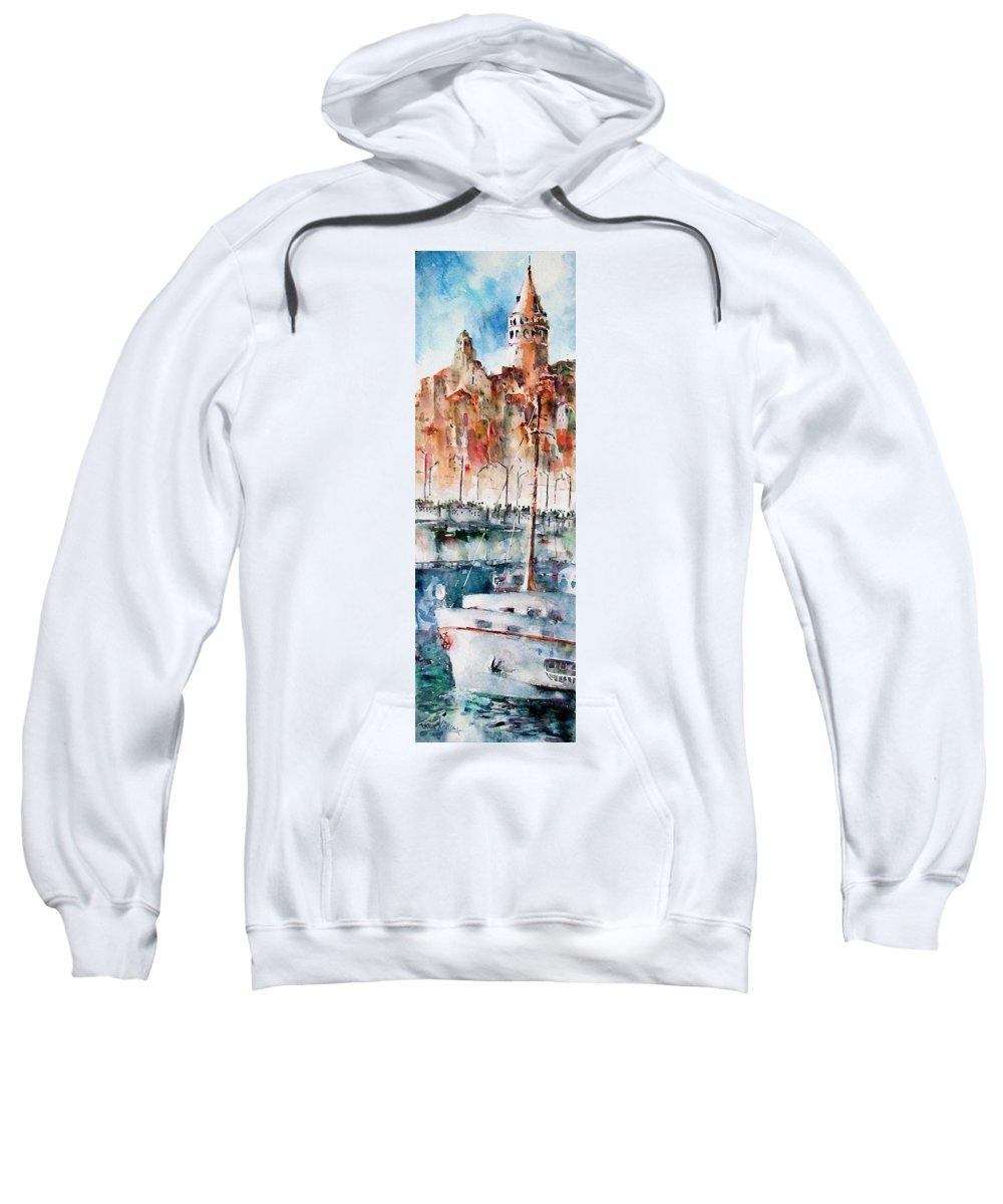 Turkey Sweatshirt featuring the painting The Ferry Arrives At Galata Port - Istanbul by Faruk Koksal