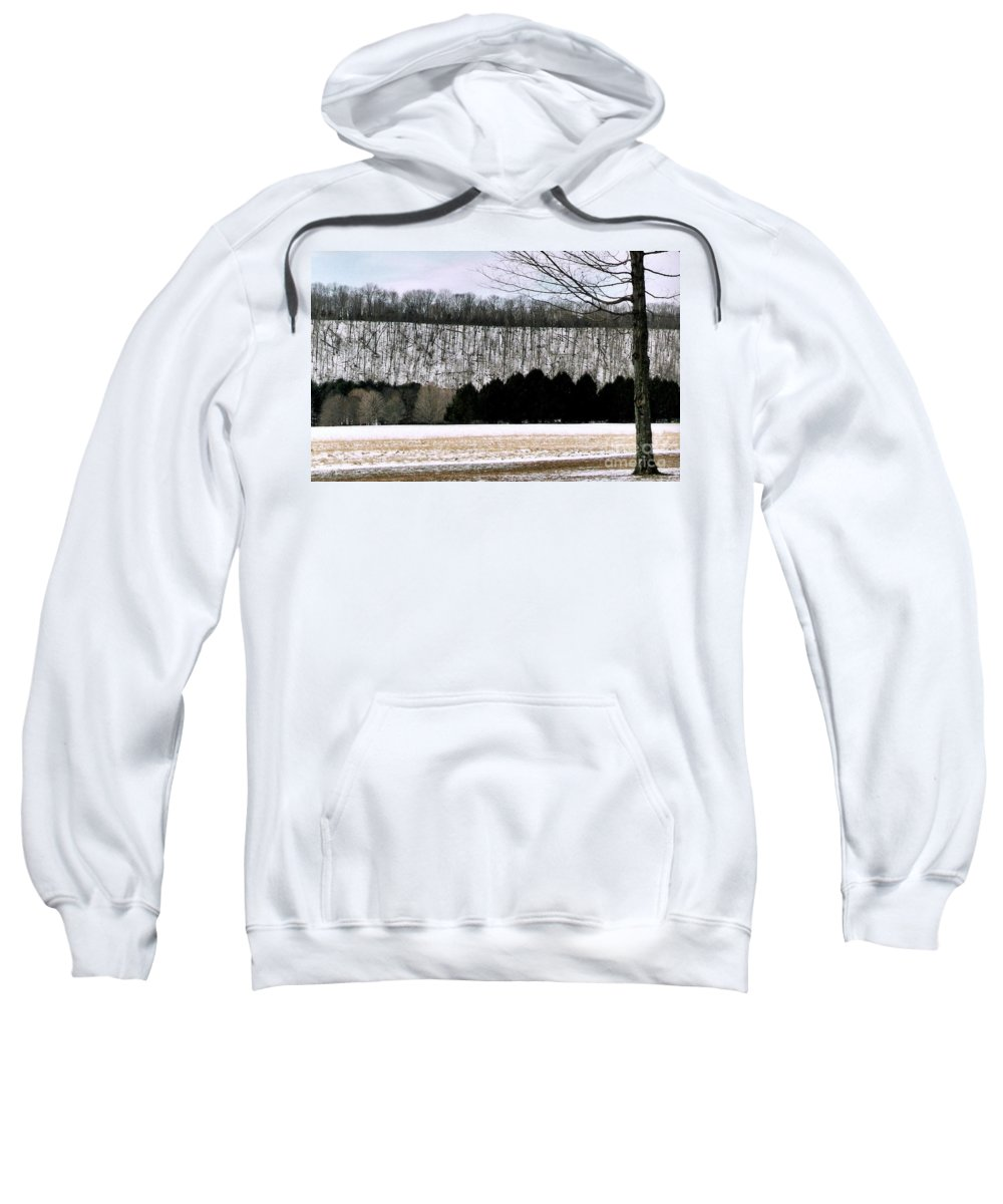Landscape Photos Sweatshirt featuring the photograph The First Snow New Hope Pa by Michael Hoard