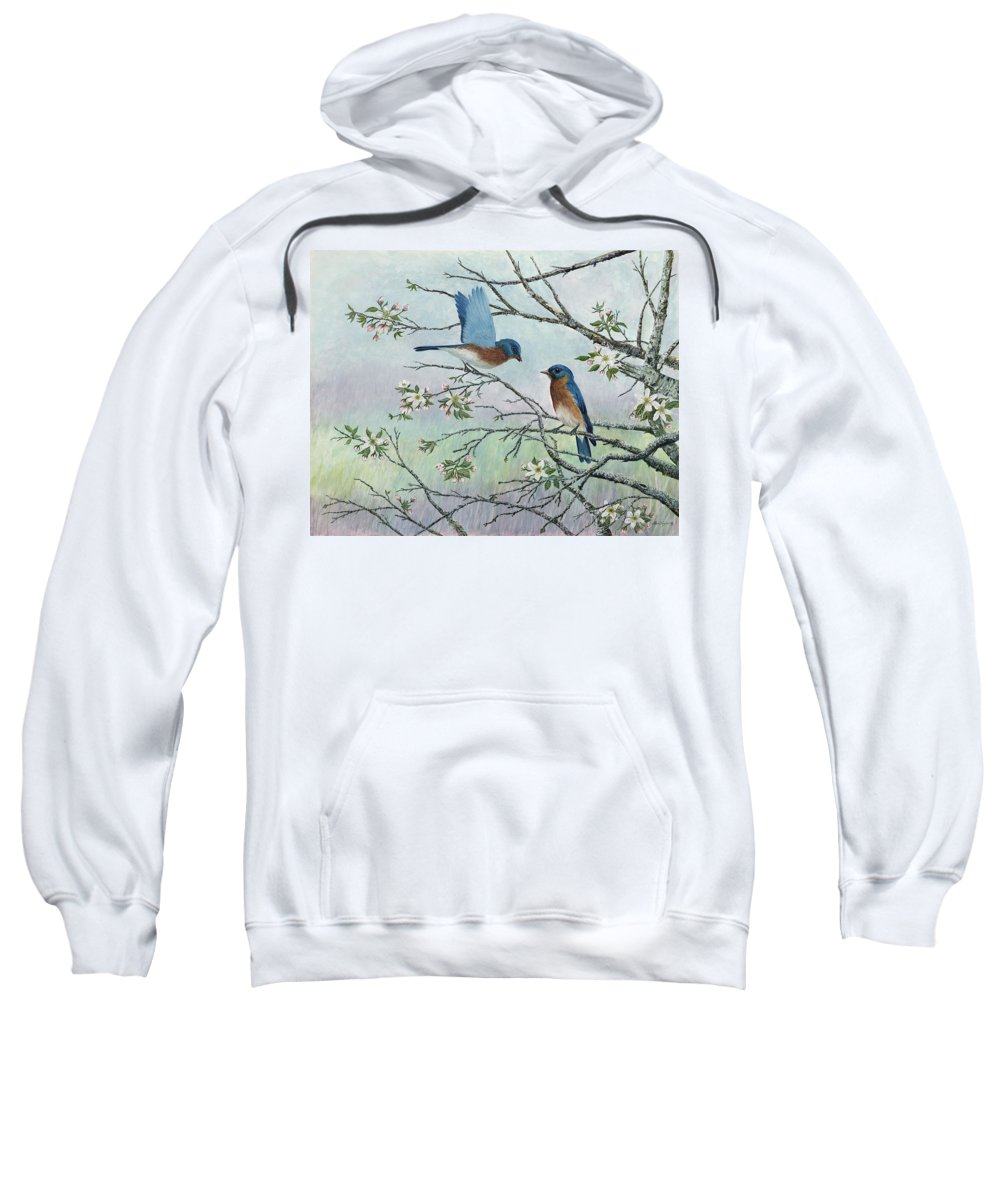 Bluebirds; Trees; Wildlife Sweatshirt featuring the painting The Gift by Ben Kiger