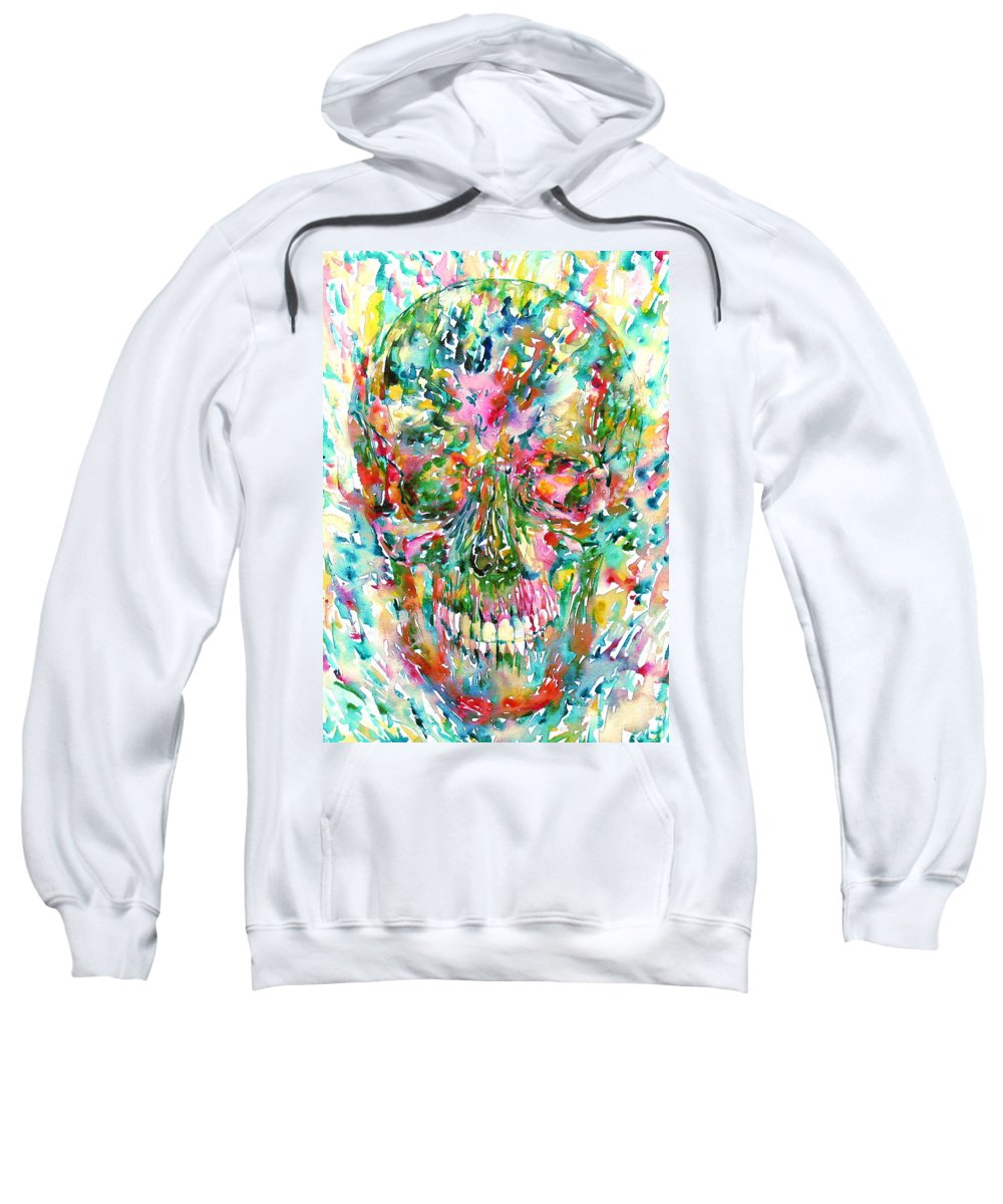 Skull Sweatshirt featuring the painting The Great Smile by Fabrizio Cassetta
