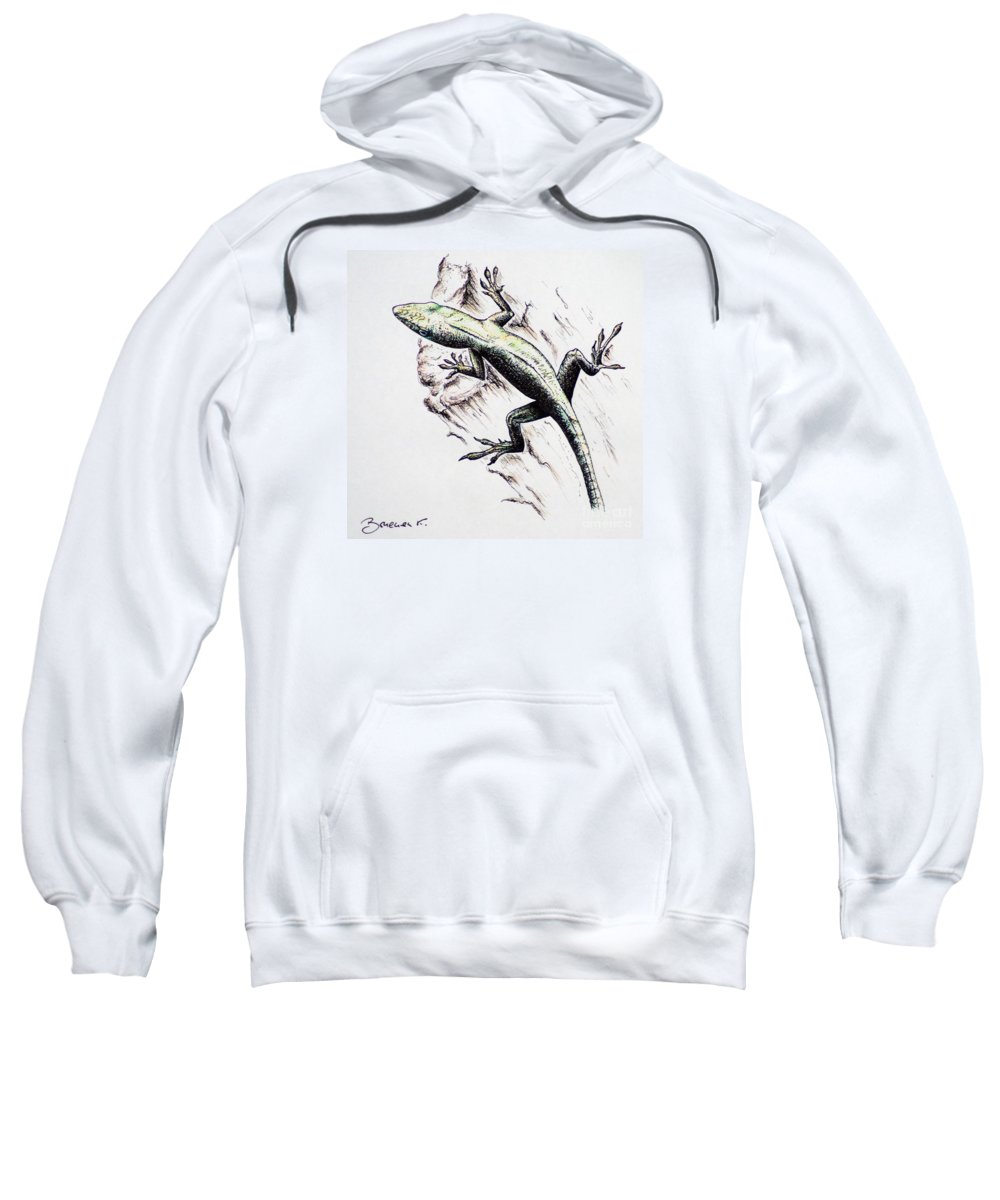 Ink Sketch Sweatshirt featuring the drawing The Green Lizard by Katharina Filus