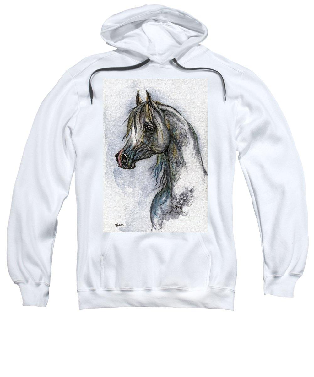 Watercolor Sweatshirt featuring the painting The Grey Arabian Horse 10 by Angel Ciesniarska