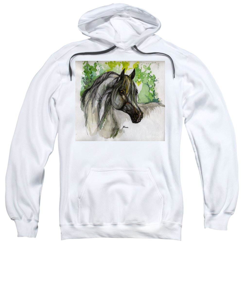 Horse Sweatshirt featuring the painting The Grey Horse Drawing by Angel Ciesniarska