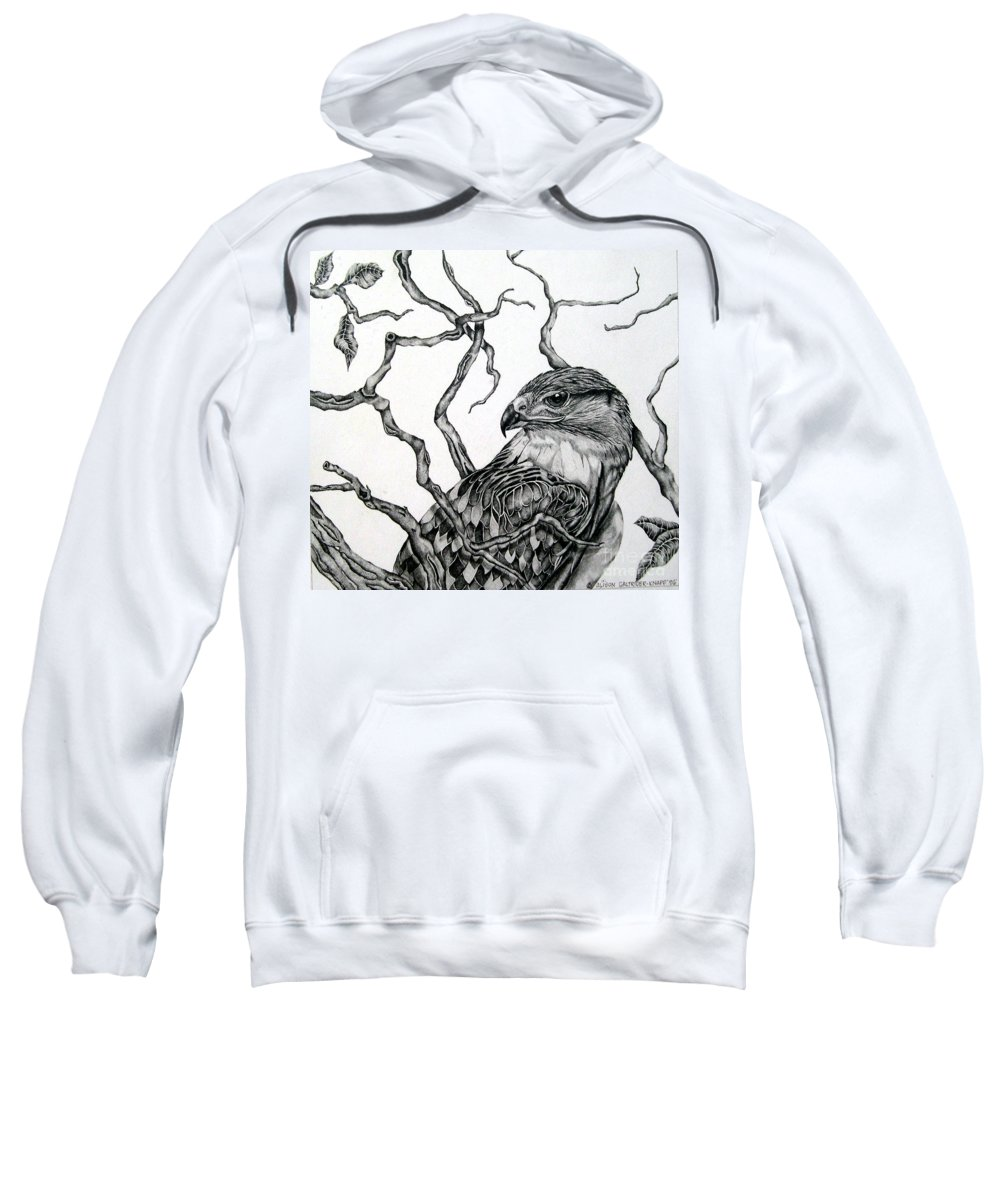 Hawk Sweatshirt featuring the drawing The Hawk by Alison Caltrider