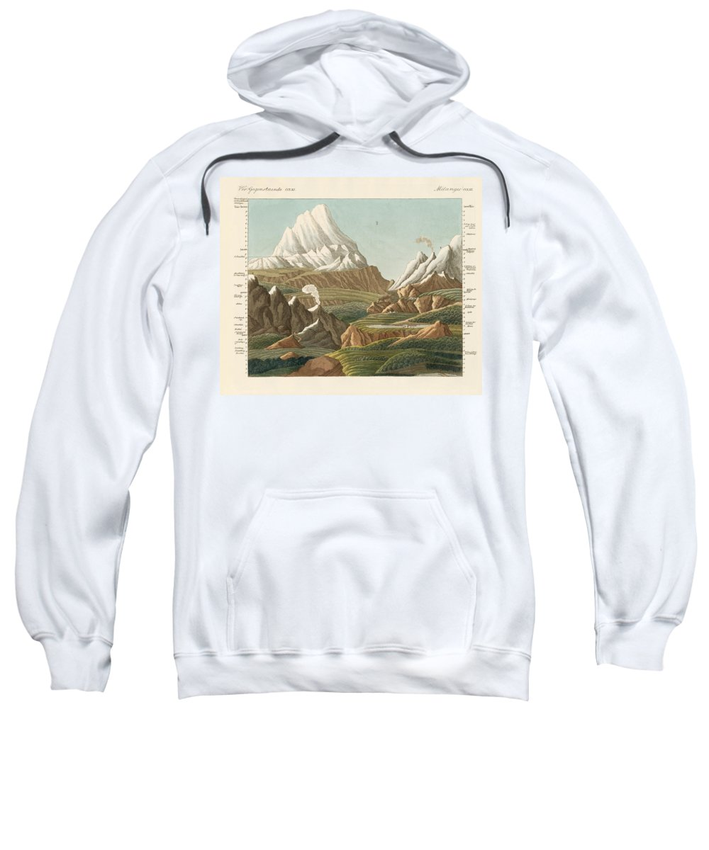 Bertuch Sweatshirt featuring the drawing The Heights Of The Old And New World by Splendid Art Prints