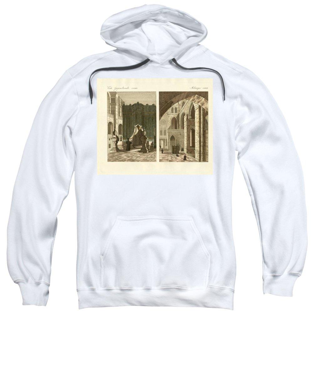 Bertuch Sweatshirt featuring the drawing The Holy Sepulcher Of Jerusalem by Splendid Art Prints
