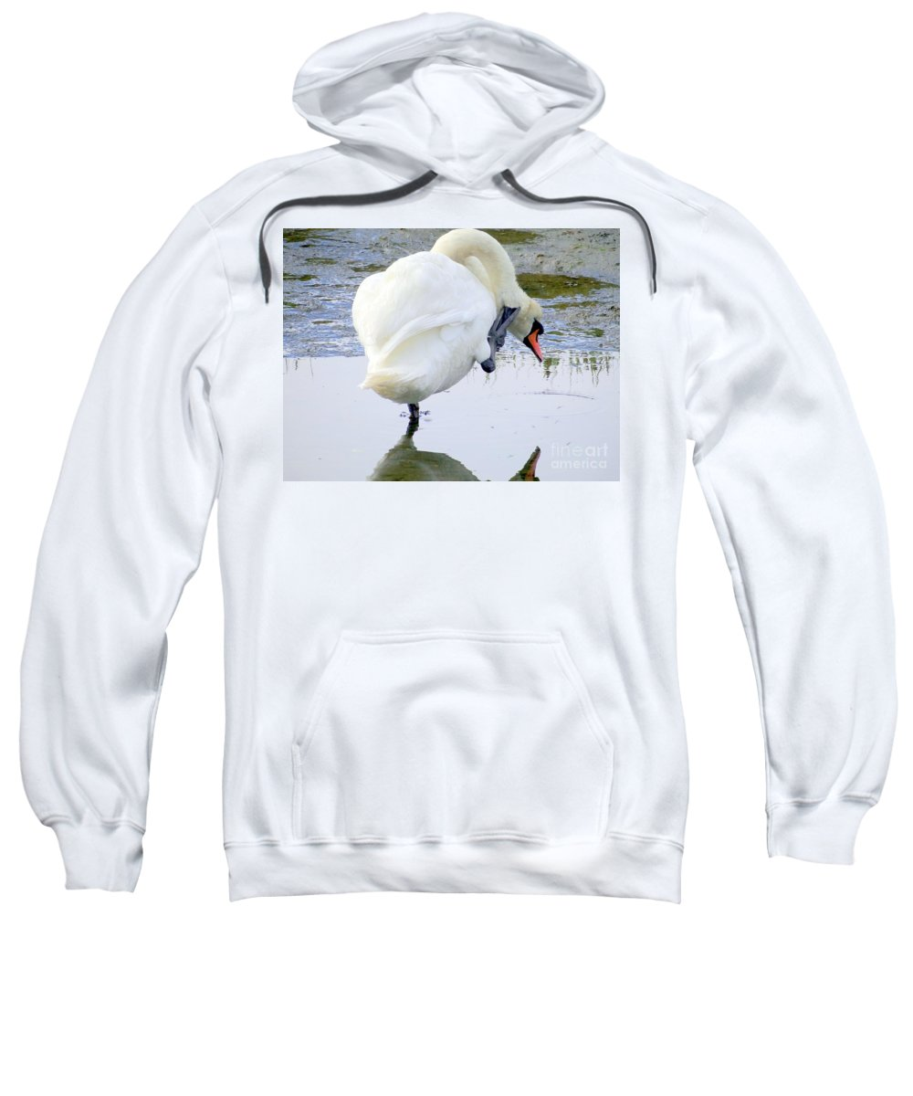 Swan Sweatshirt featuring the photograph The Itch by Ed Weidman