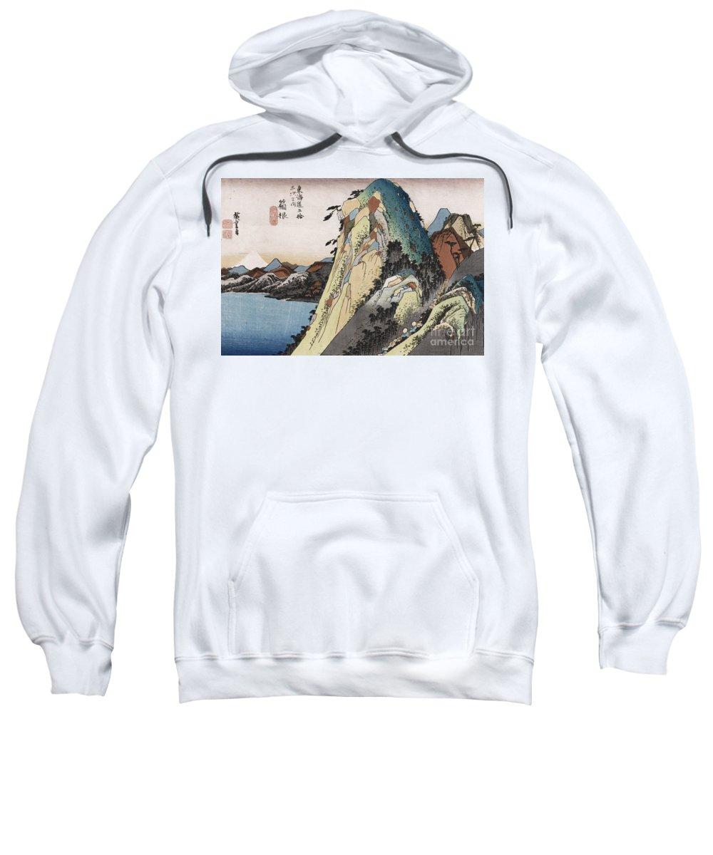 Lake Sweatshirt featuring the painting The Lake At Hakone by Hiroshige