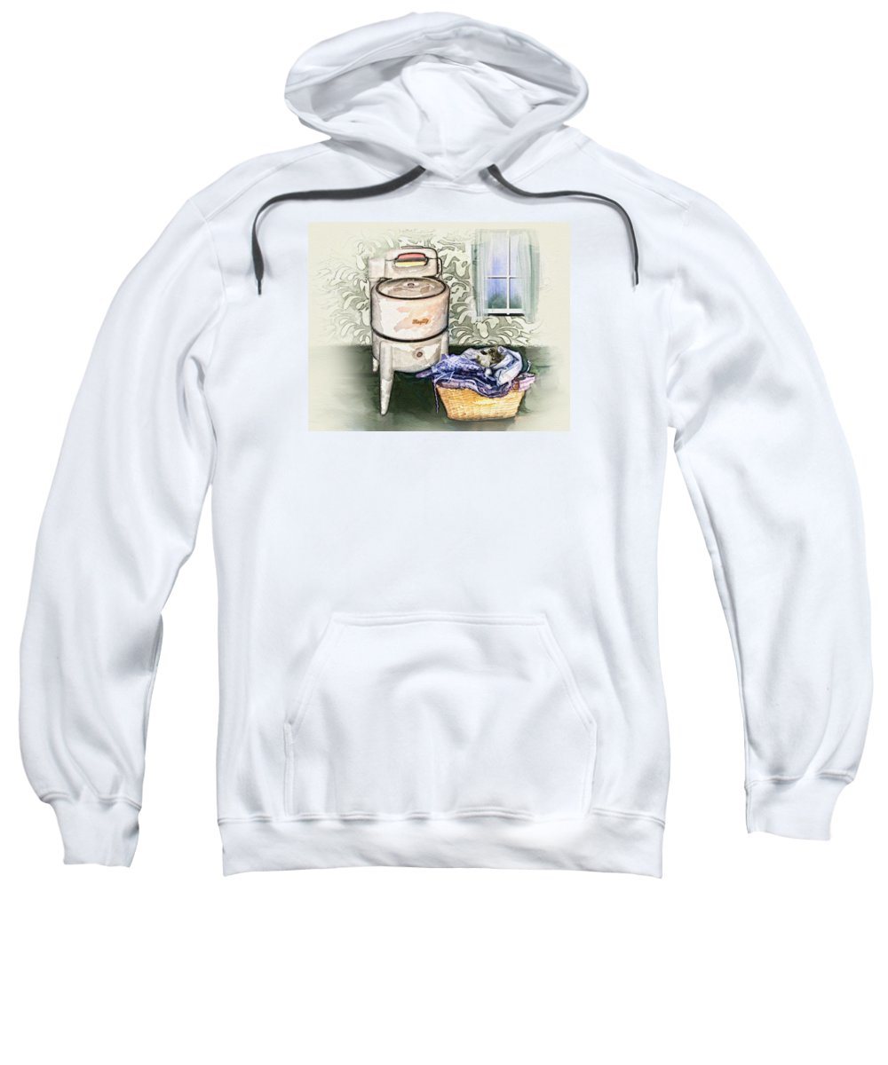 Wringer Washer Sweatshirt featuring the digital art The Laundry Room by Mary Almond
