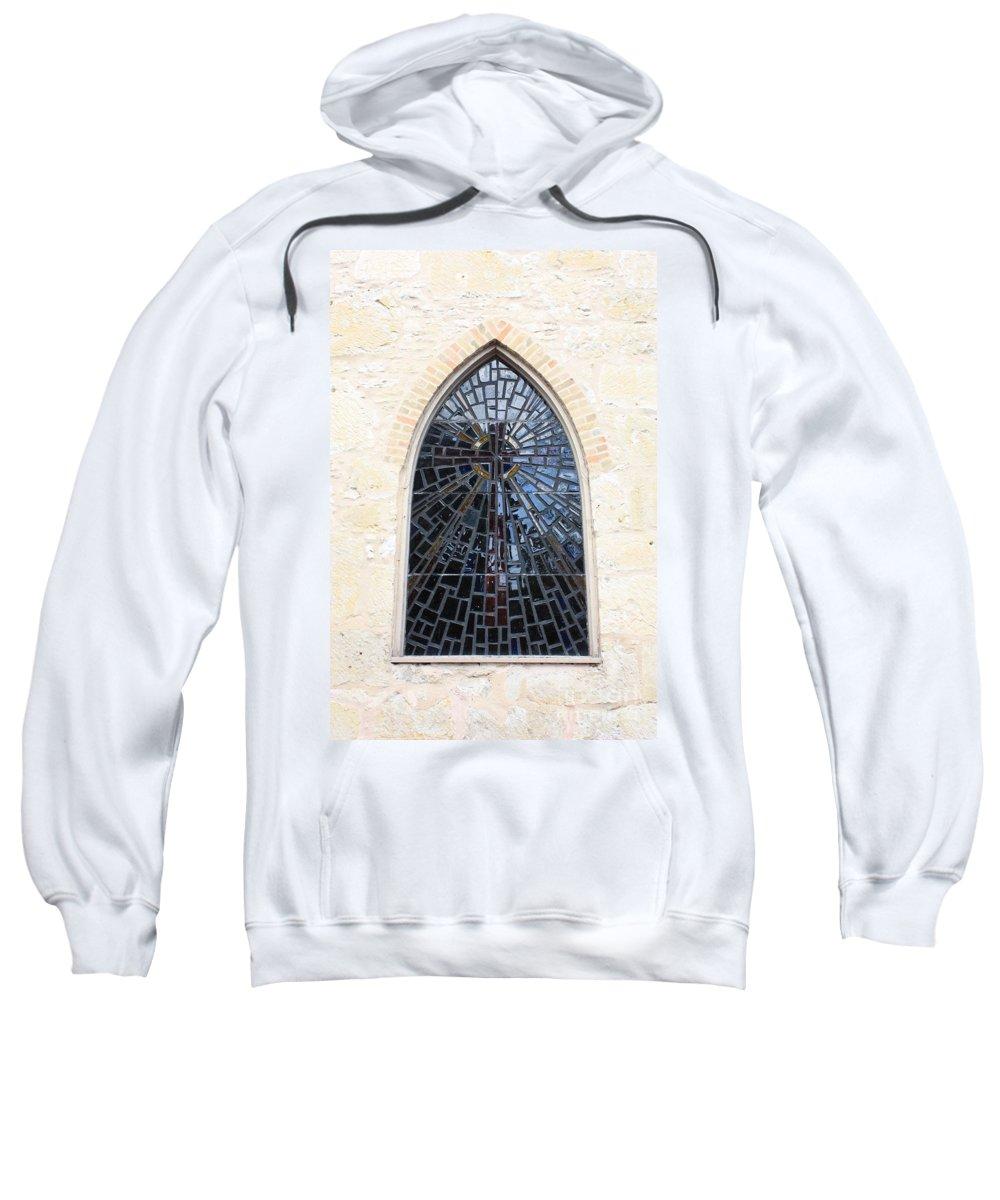 The Little Church In San Antonio Sweatshirt featuring the photograph The Little Church Window by Carol Groenen