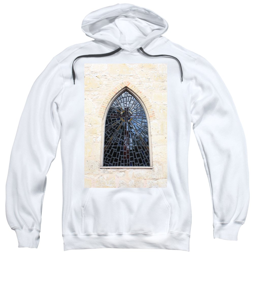 The Little Church In San Antonio Sweatshirt featuring the photograph The Little Church Window by Carol Groenen