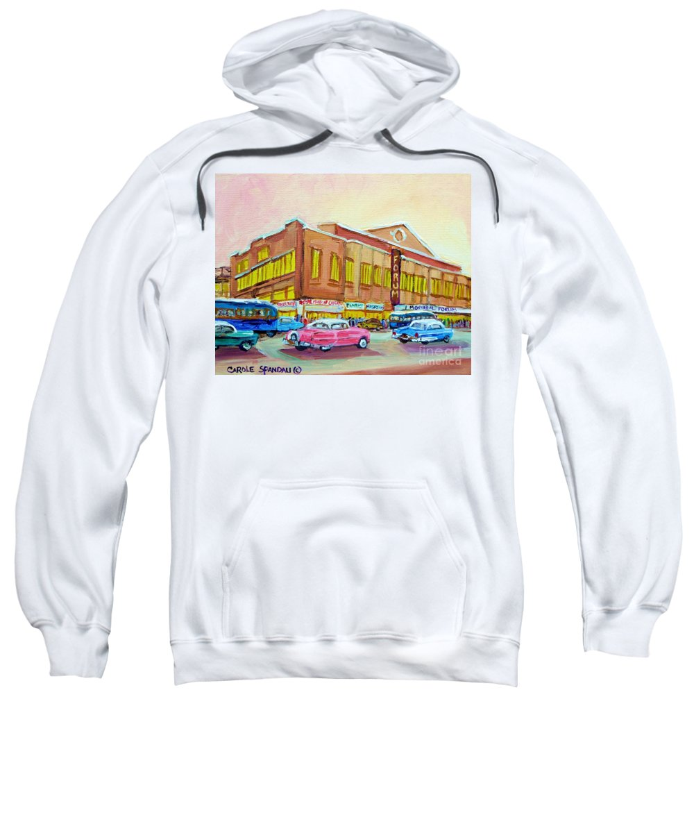Montreal Sweatshirt featuring the painting The Montreal Forum by Carole Spandau