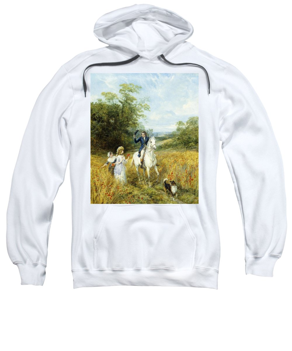 Horse Sweatshirt featuring the painting The Morning Ride by Heywood Hardy