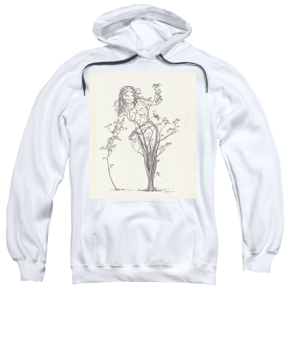 Tree Dancer Sweatshirt featuring the drawing The Small Singer by Mark Johnson