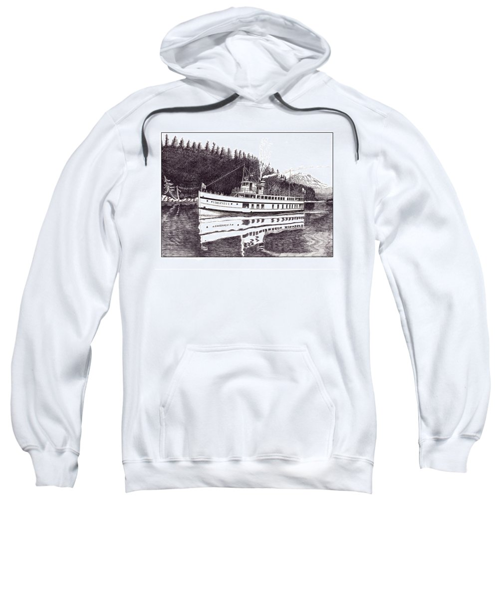 Marine Paintings Marine Art. Canvas Prints Of Boats. Prints Of Boats. Prints Of Waterfront Art. Canvas Prints Of Yachts. Framed Marine Transportation Art.framed Prints Of Lighthouses. Sweatshirt featuring the drawing The Steamer Virginia V by Jack Pumphrey