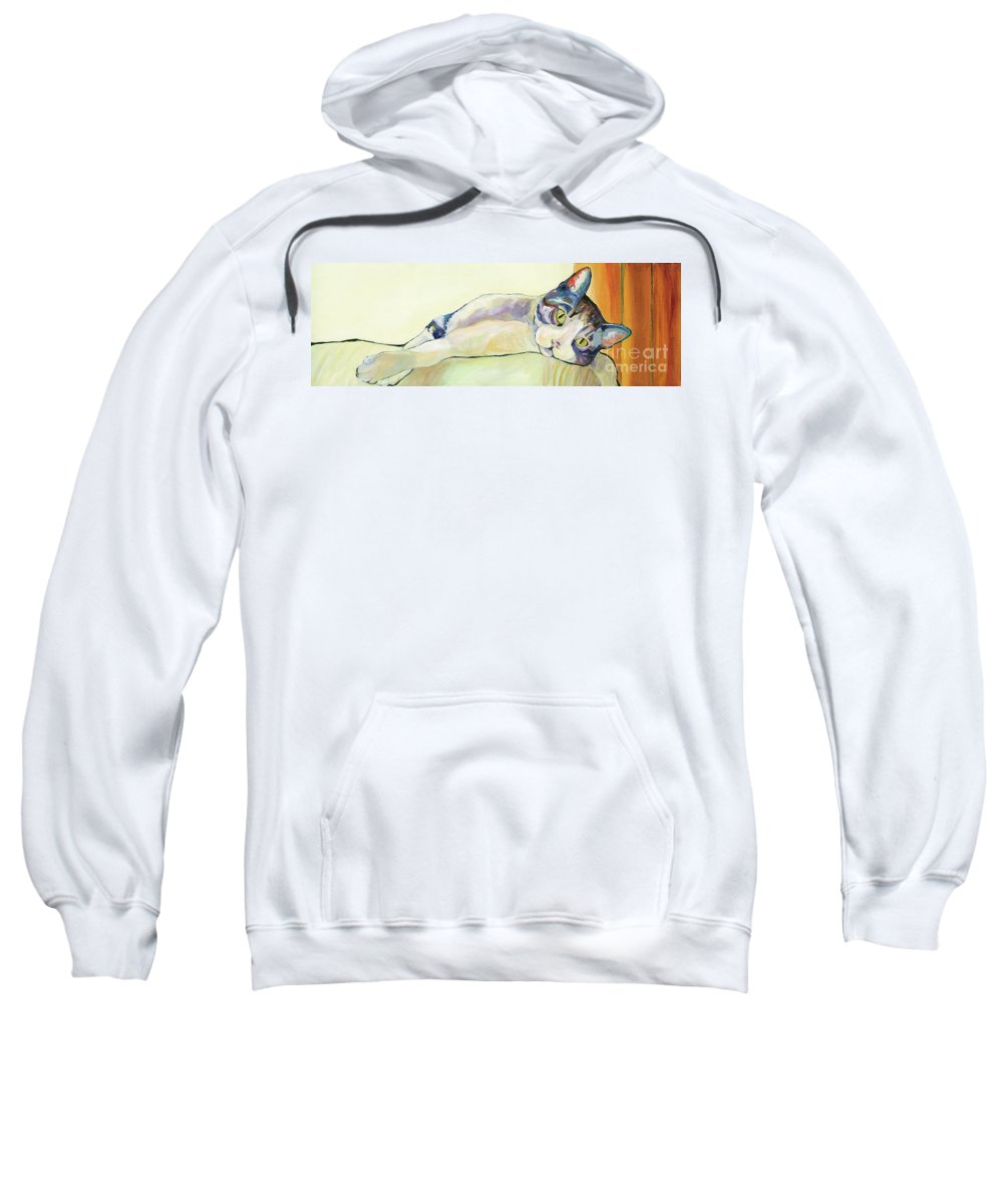 Pat Saunders-white Canvas Prints Sweatshirt featuring the painting The Sunbather by Pat Saunders-White