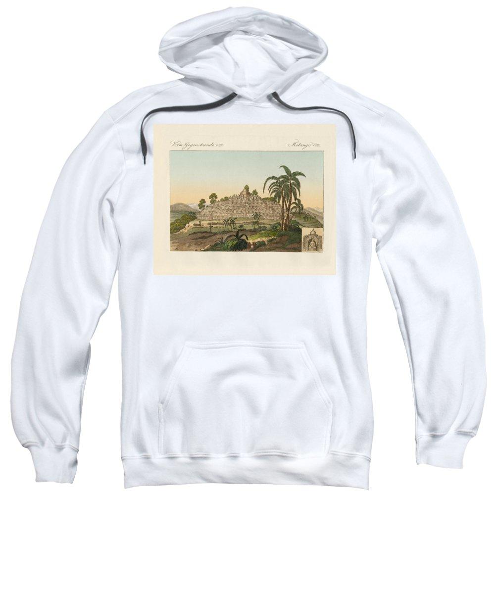 Bertuch Sweatshirt featuring the drawing The Temple Of Buddha Of Borobudur In Java by Splendid Art Prints