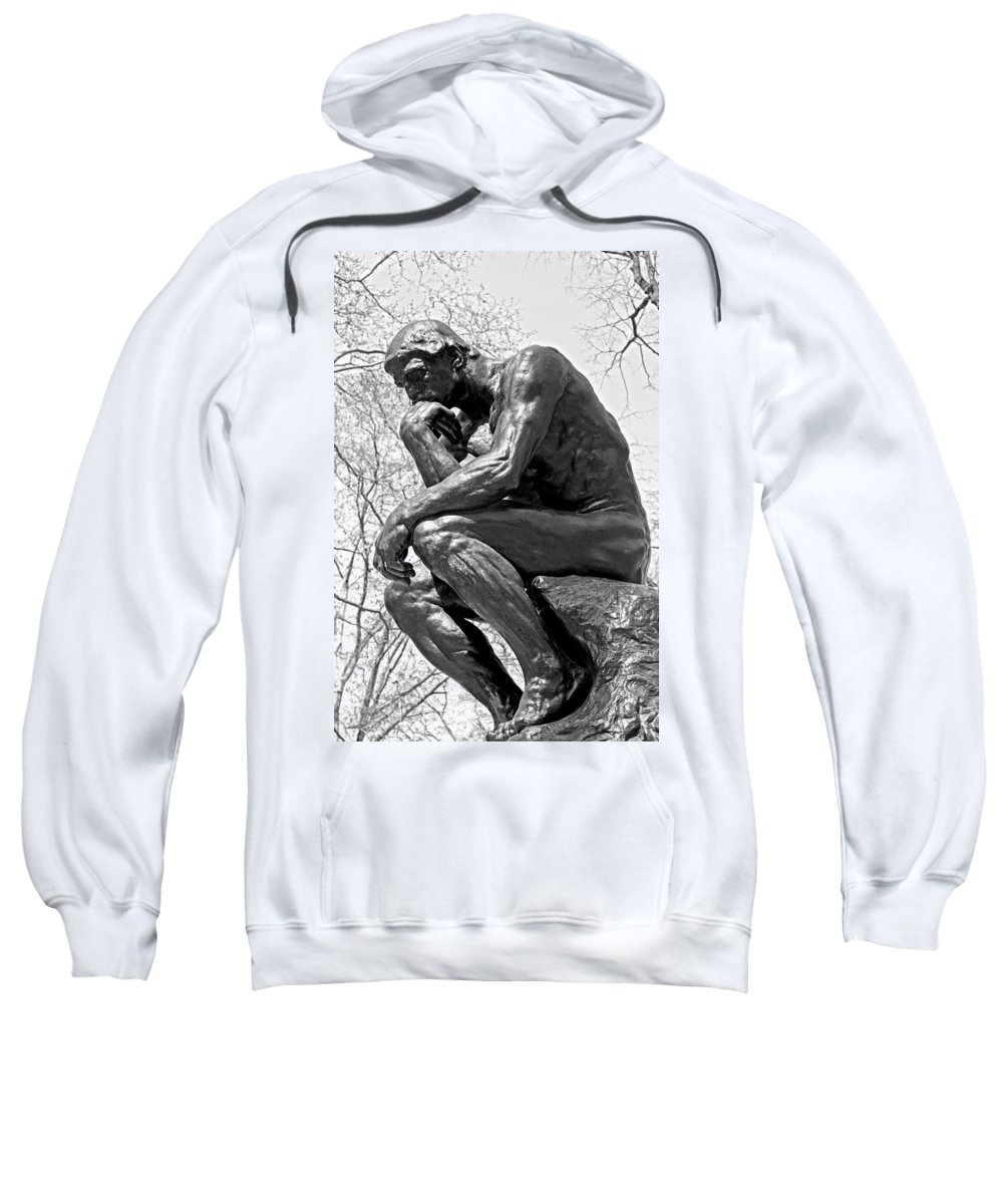City Scenes Sweatshirt featuring the photograph The Thinker In Black And White by Lisa Phillips