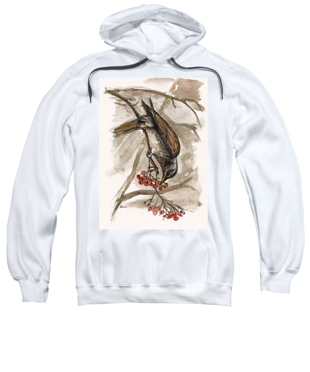 Thrush Sweatshirt featuring the painting The Thrush Eating Cranberries by Angel Tarantella
