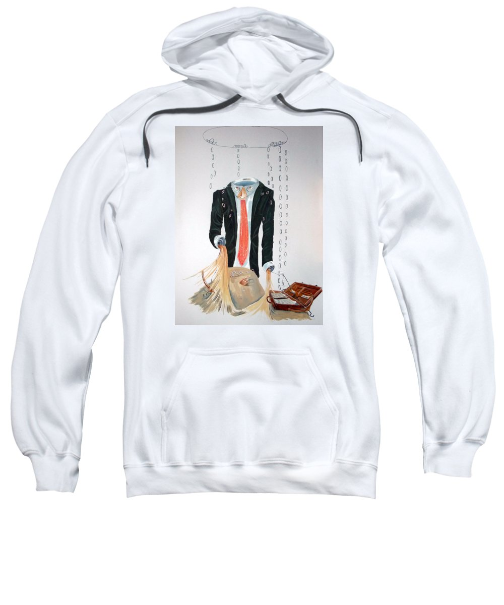 Surrealist Sweatshirt featuring the painting The Weariness by Lazaro Hurtado
