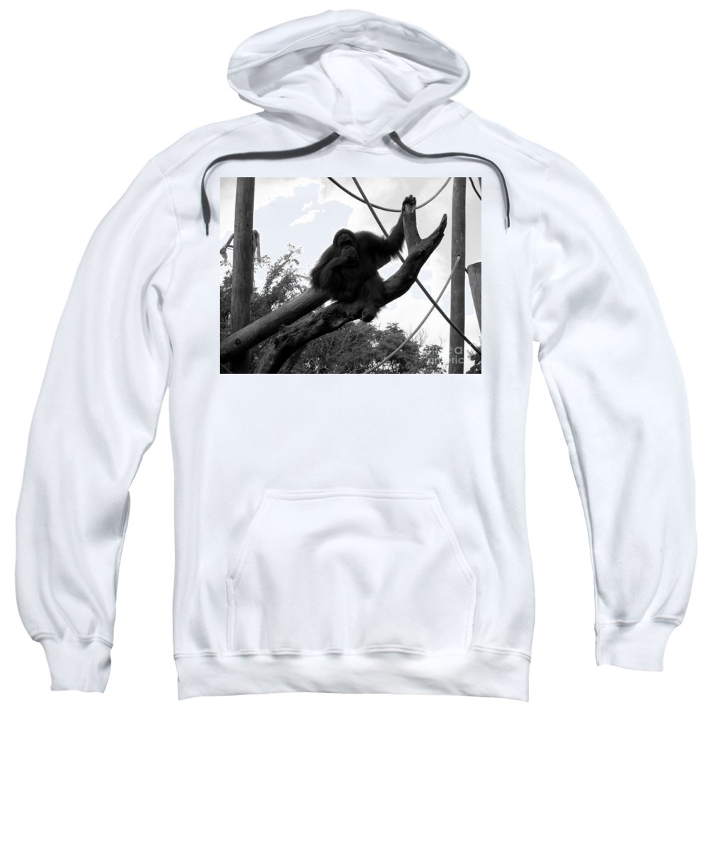 Orangutang Sweatshirt featuring the photograph Thinking Of You Black And White by Joseph Baril