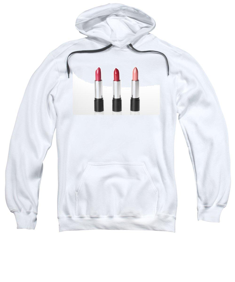 Lipstick Sweatshirt featuring the photograph Three Lipsticks by Stefania Levi