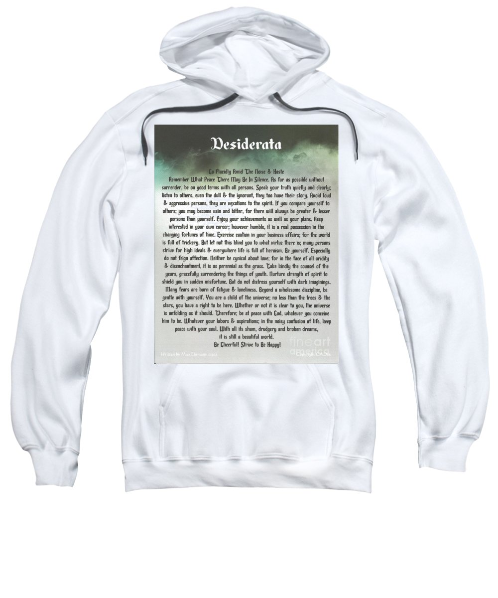 Desiderata Sweatshirt featuring the mixed media Thundering Desiderata by Desiderata Gallery