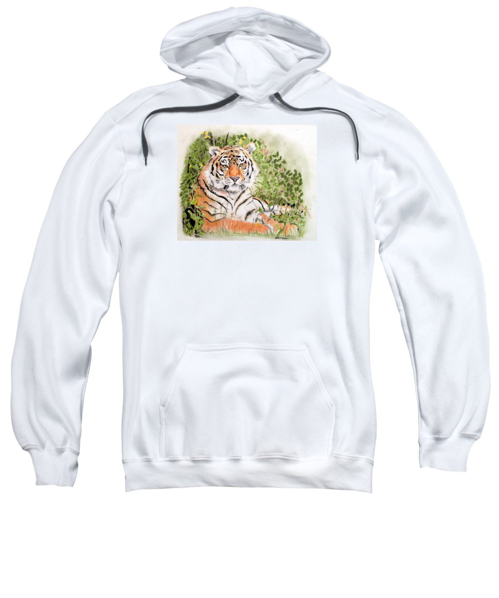 Tiger Sweatshirt featuring the drawing Tiger by Hilari Alsip