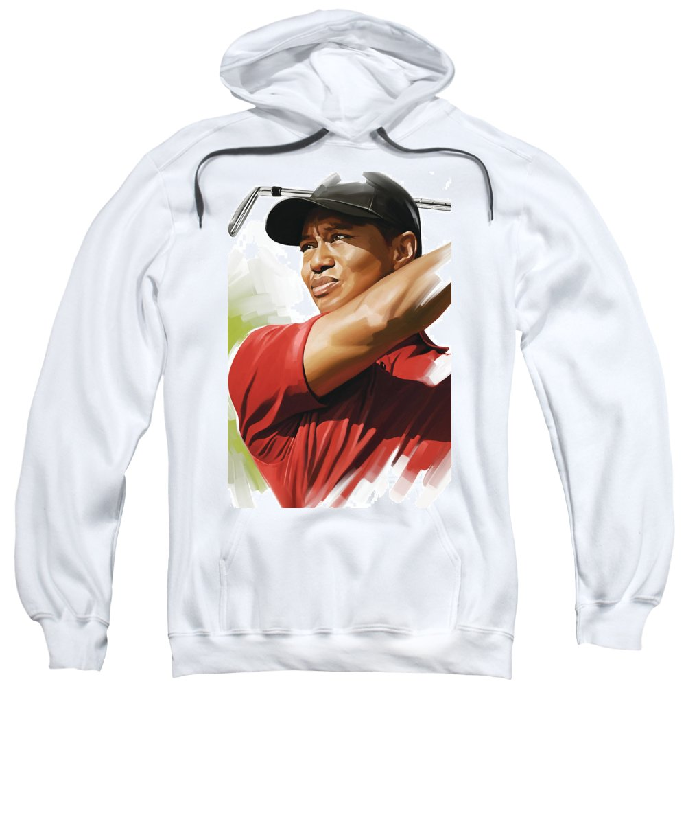 Tiger Woods Paintings Sweatshirt featuring the mixed media Tiger Woods Artwork by Sheraz A