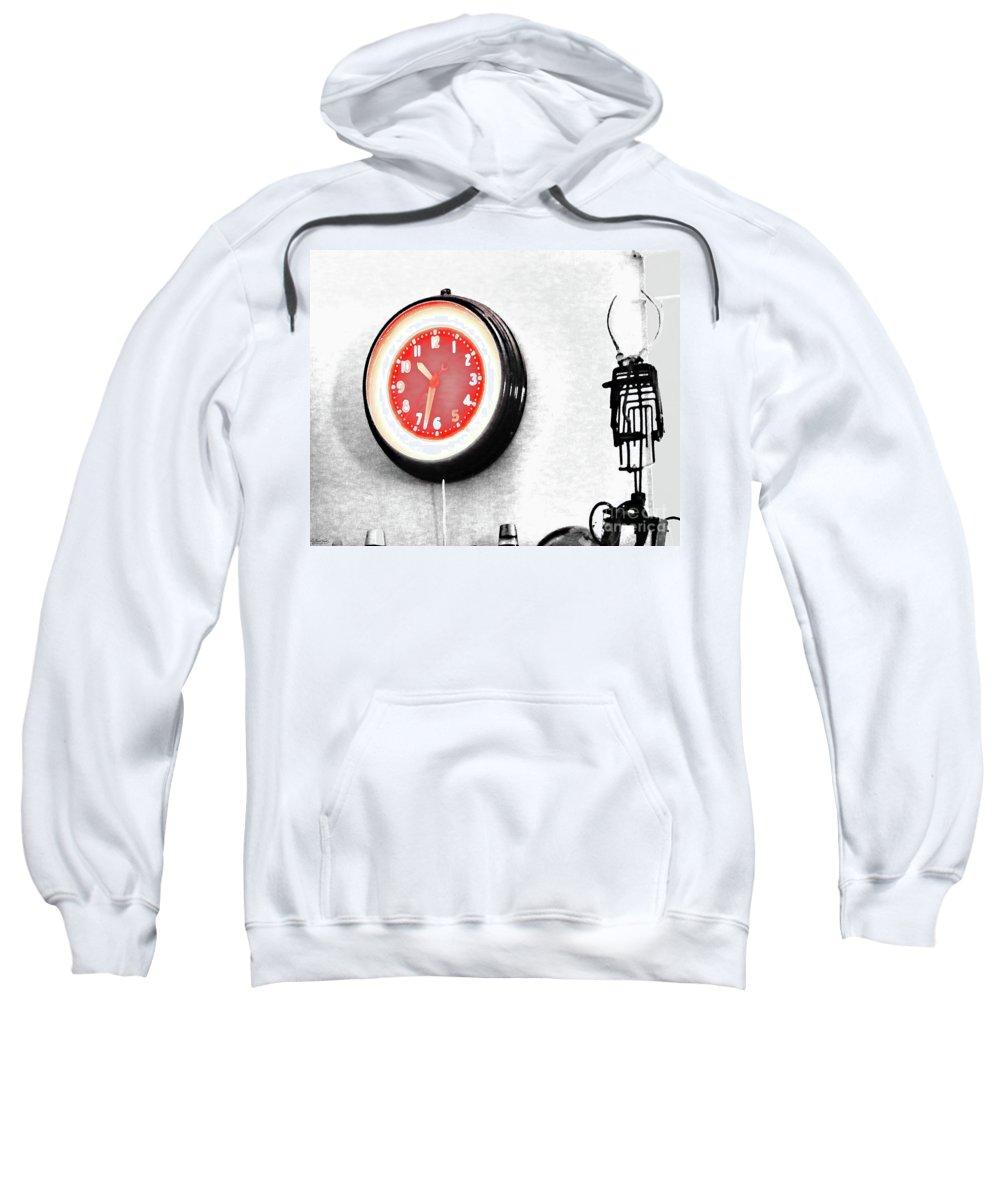 Clock Sweatshirt featuring the digital art Times Red by Lizi Beard-Ward