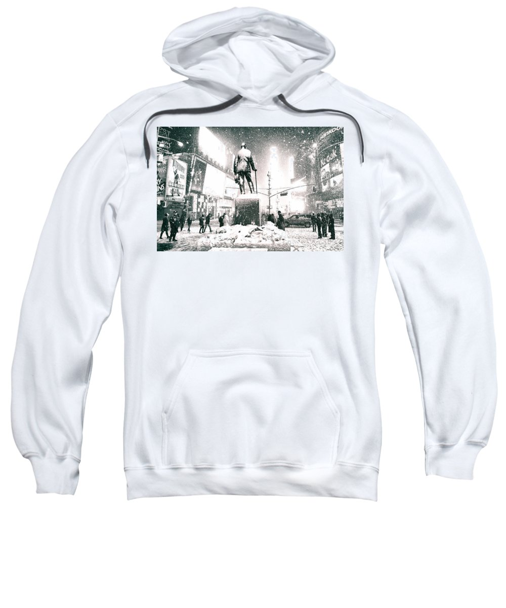 Nyc Sweatshirt featuring the photograph Times Square In The Snow - New York City by Vivienne Gucwa