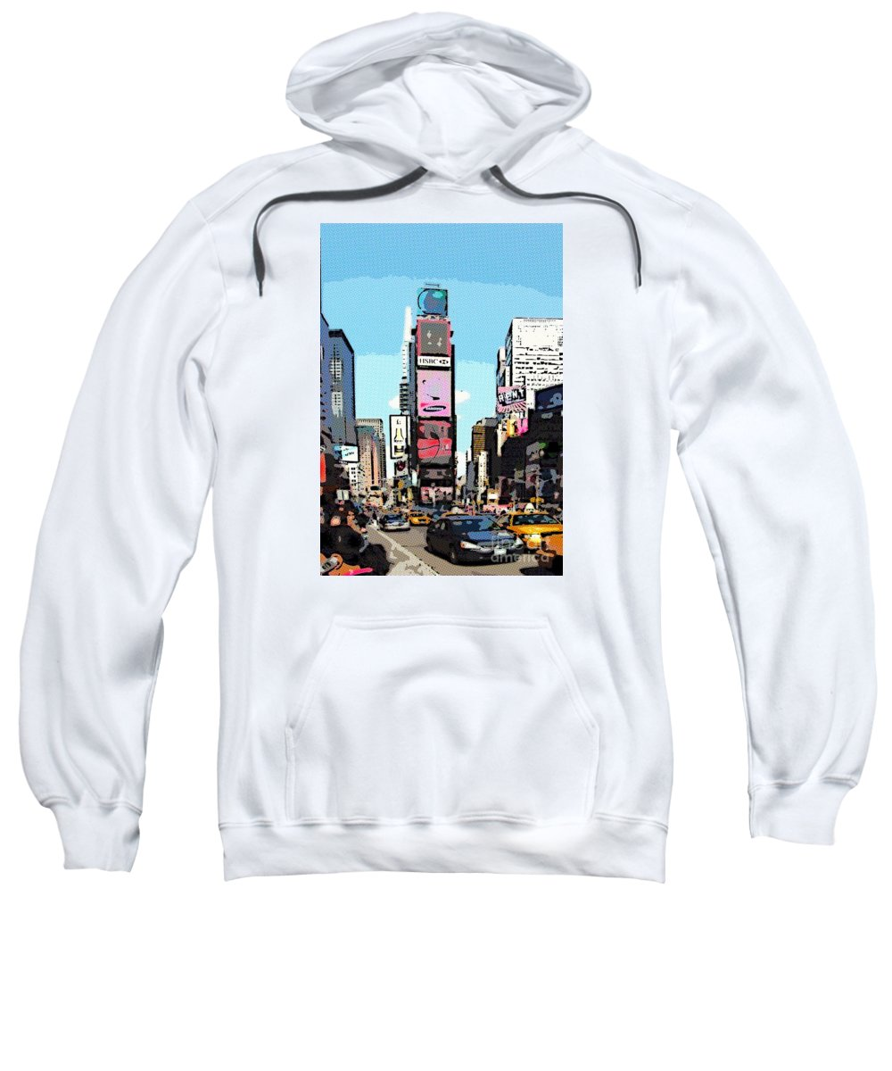 Times Square Sweatshirt featuring the digital art Times Square Nyc Cartoon-style by Liz Leyden