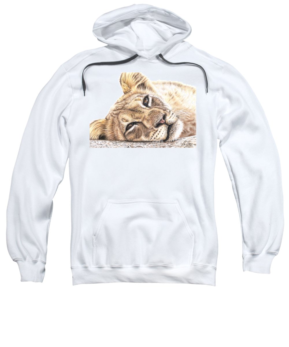 Lion Sweatshirt featuring the drawing Tired Young Lion by Nicole Zeug