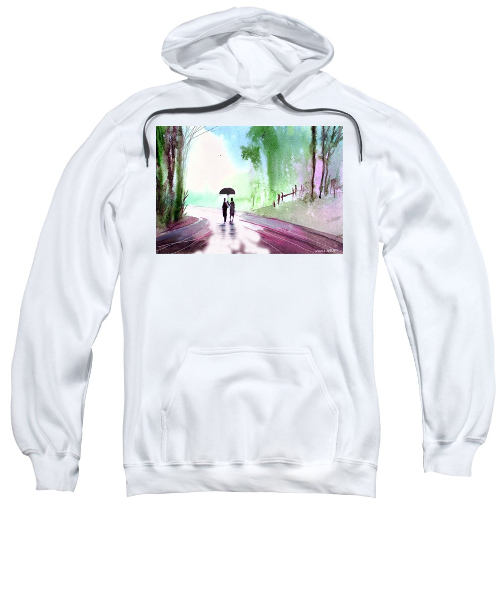 Nature Sweatshirt featuring the painting Togetherness by Anil Nene
