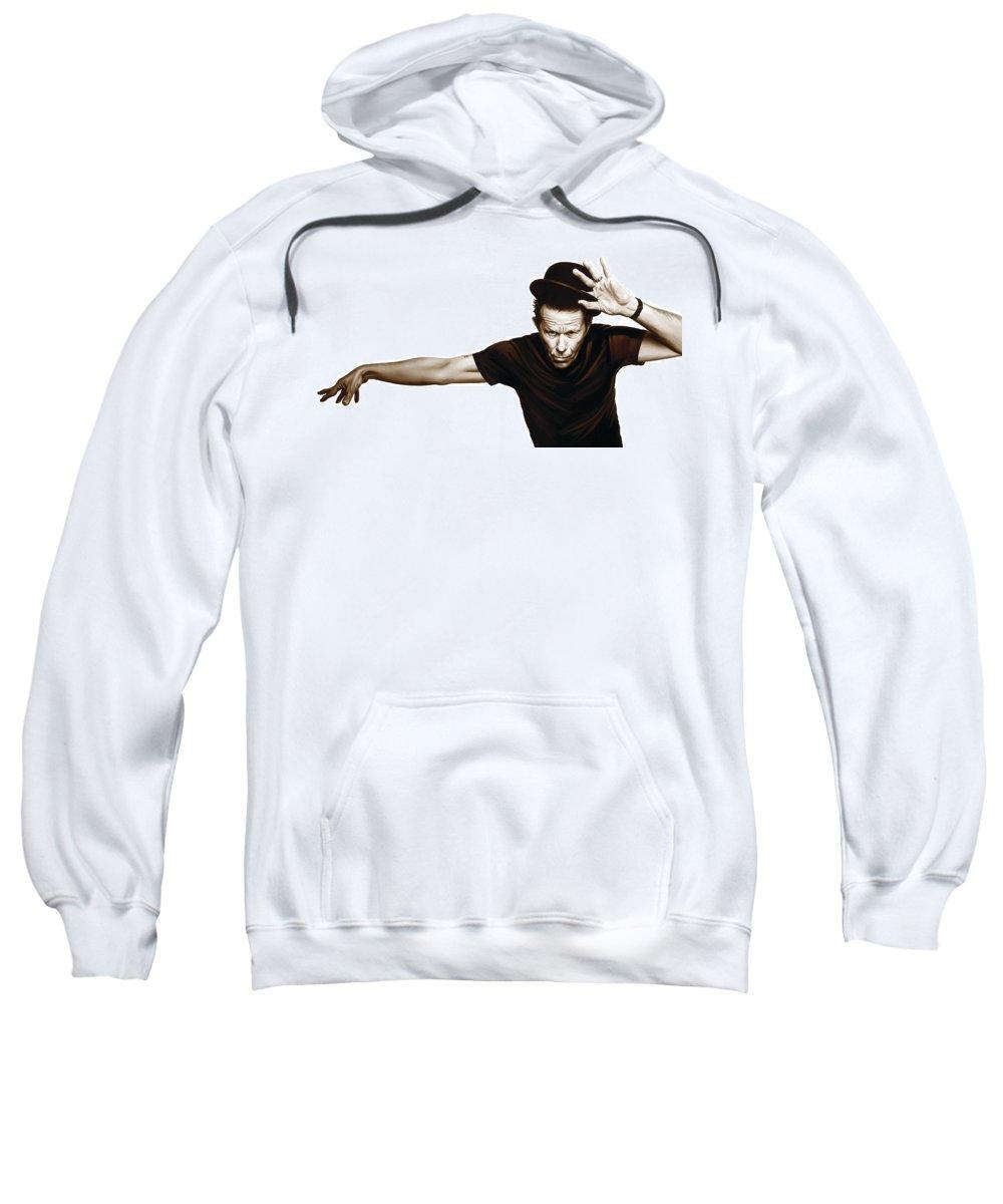 Tom Waits Paintings Sweatshirt featuring the mixed media Tom Waits Artwork 4 by Sheraz A