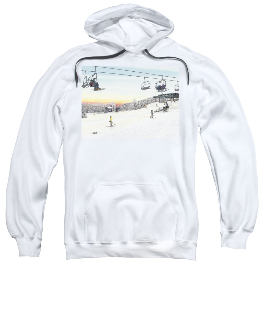 Seven Springs Mountain Resort Sweatshirt featuring the painting Top Of The Mountain At Seven Springs by Albert Puskaric