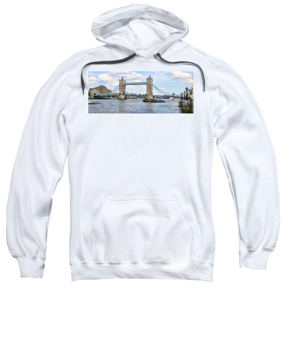 Tower Bridge Sweatshirt featuring the photograph Tower Bridge Panorama by Jack Schultz