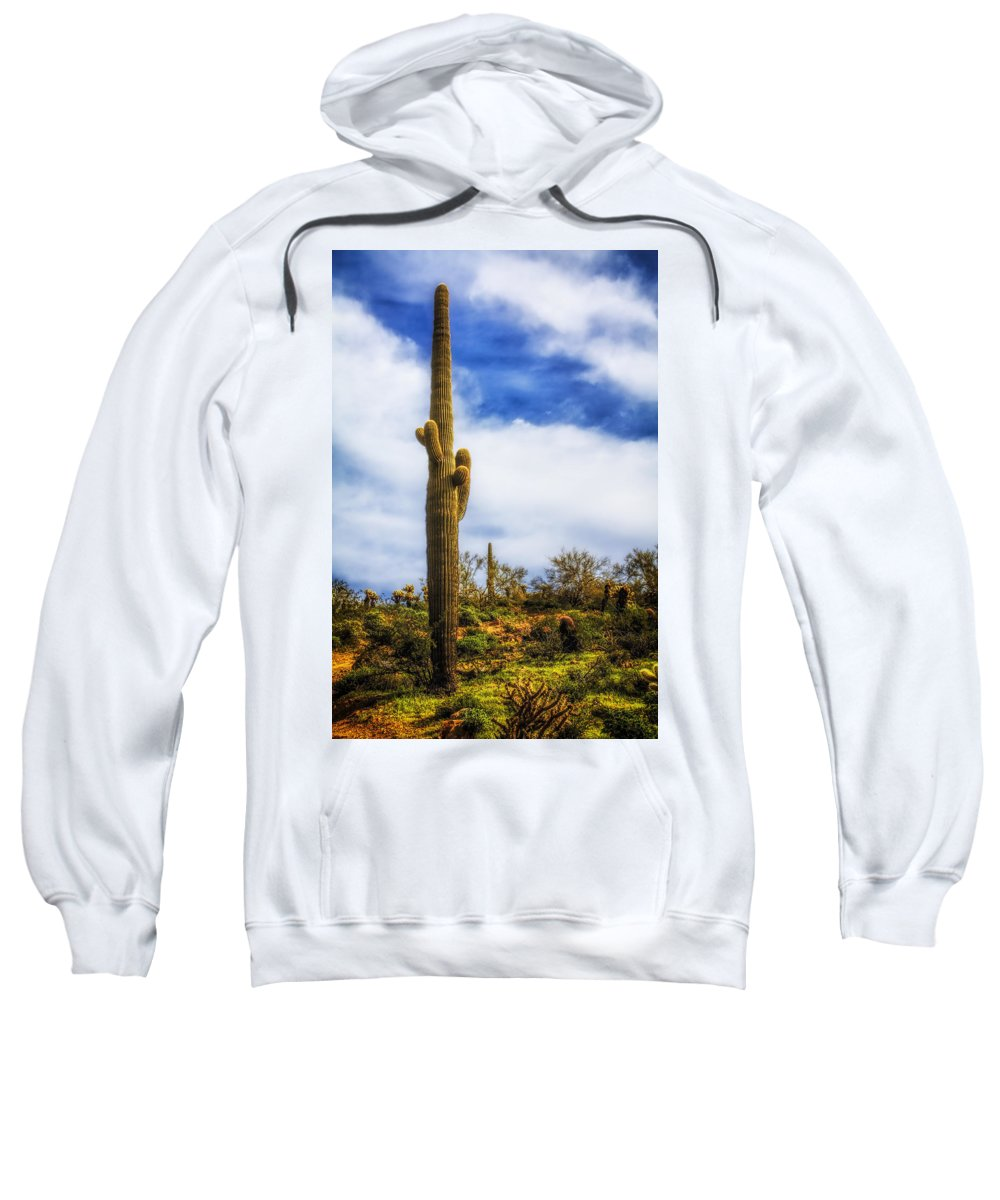 Fred Larson Sweatshirt featuring the photograph Towering Saguaro by Fred Larson