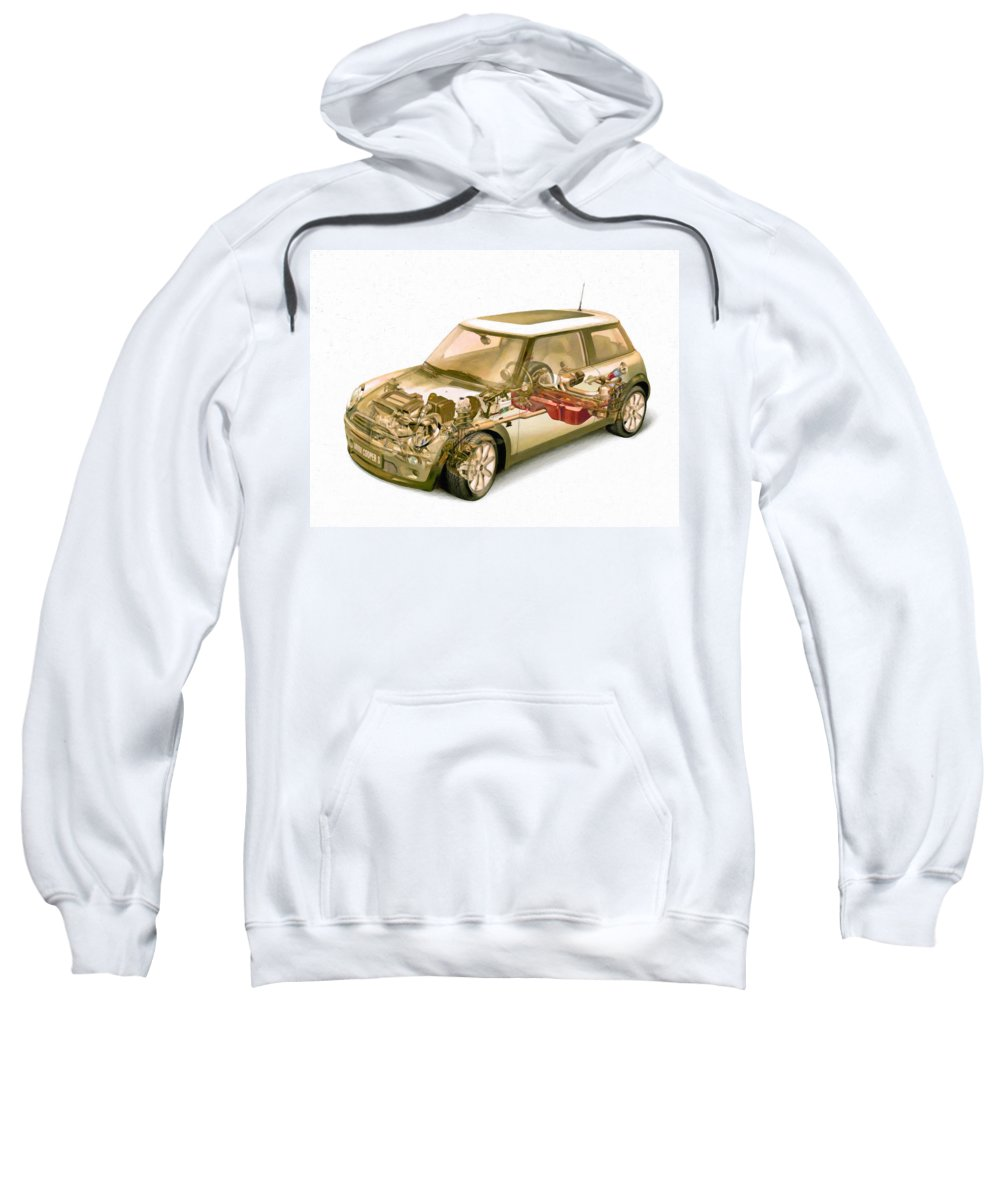 Car Sweatshirt featuring the painting Transparent Car Concept Made In 3d Graphics 5 by Jeelan Clark